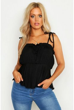 Womens Black Plus Rib Ruched Bust Tie Shoulder Cami