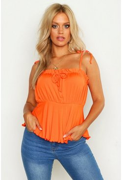 Womens Tangerine Plus Rib Ruched Bust Tie Shoulder Cami