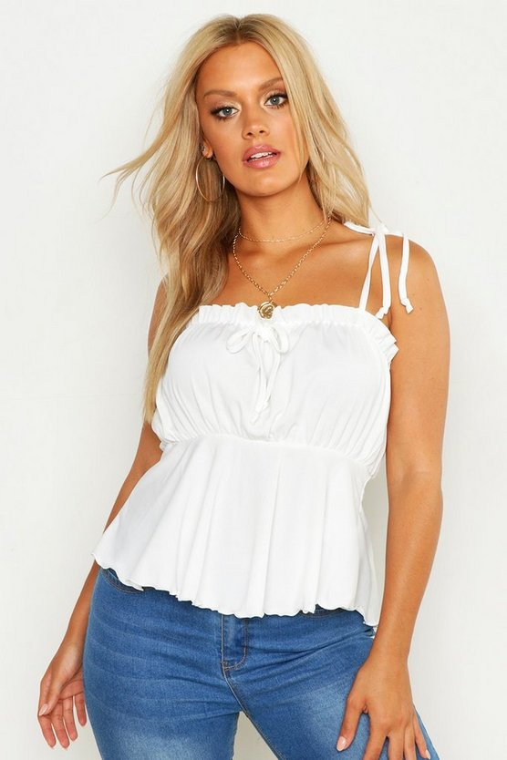 Womens White Plus Rib Ruched Bust Tie Shoulder Cami