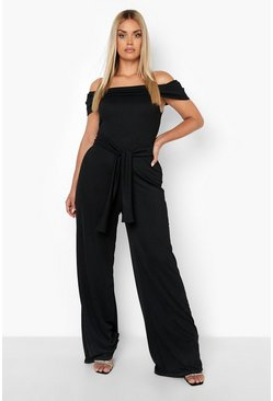 Womens Black Plus Off Shoulder Wide Leg Self Belt Jumpsuit