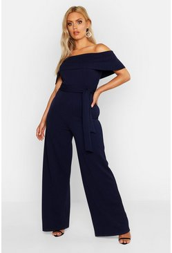 Womens Navy Plus Off Shoulder Wide Leg Self Belt Jumpsuit