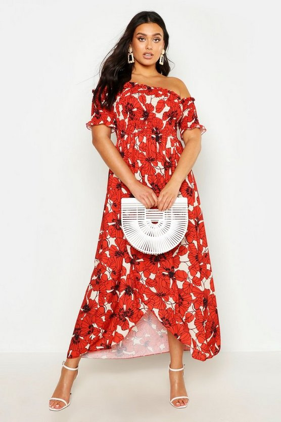 Womens Red Plus Floral Sheered Off Shoulder Maxi Dress
