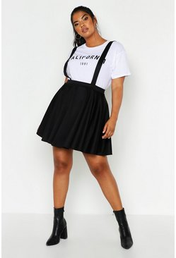 Womens Black Plus Pinafore Skirt