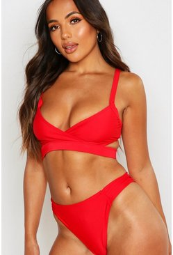 Womens Red Petite Mix & Match Ruched Side Bikini Bottoms