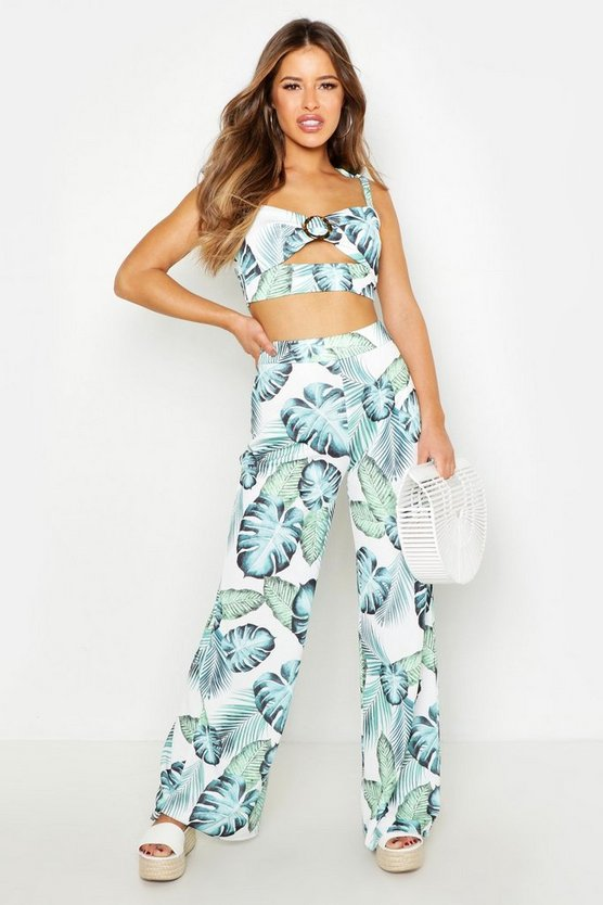Ivory Petite Palm Print Wide Leg Pants