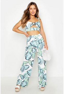 Womens Ivory Petite Palm Print Wide Leg Trouser