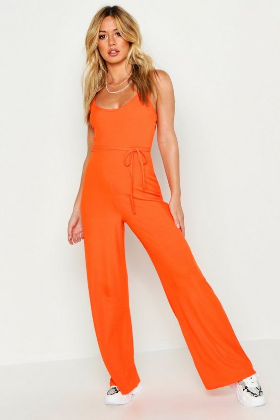 Womens Tangerine Petite Ribbed Wide Leg Jumpsuit