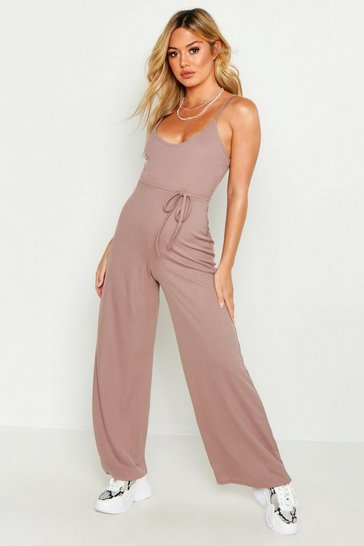 Taupe Petite Ribbed Wide Leg Jumpsuit