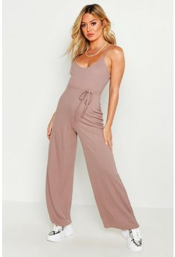 Womens Taupe Petite Ribbed Wide Leg Jumpsuit