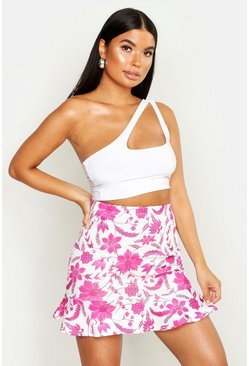Womens White Petite Floral Print Mini Ruffle Skirt