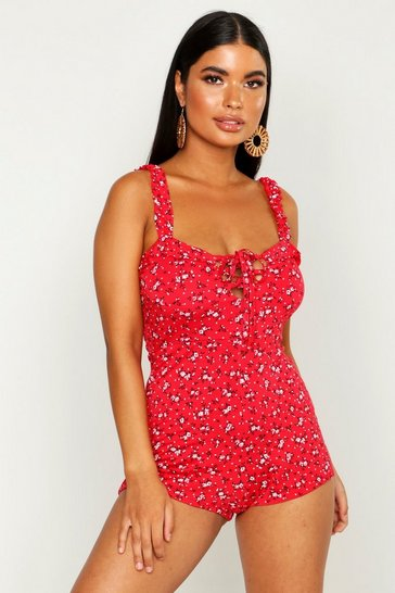 Womens Red Petite Floral Frill Playsuit