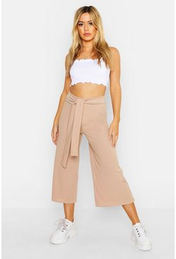 Womens Stone Petite Self Fabric Belted Culottes