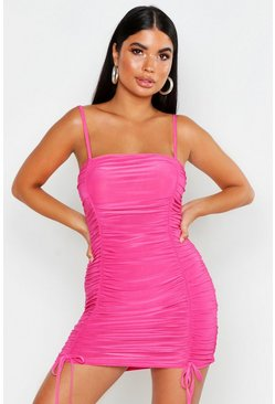 Hot pink Petite Ruched Tie Detail Cami Dress