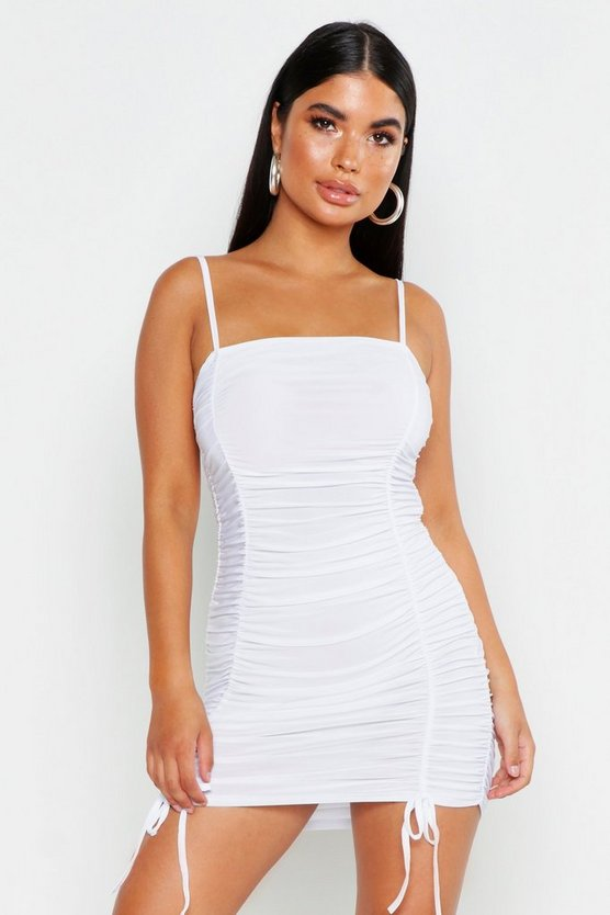 Womens White Petite Ruched Tie Detail Cami Dress