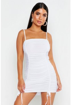 White Petite Ruched Tie Detail Cami Dress