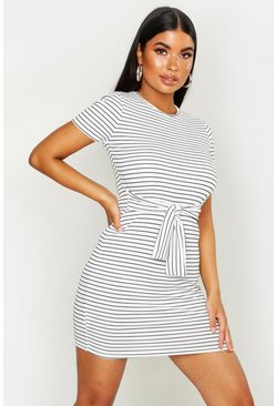 Womens White Petite Striped Knot Front T-Shirt Dress