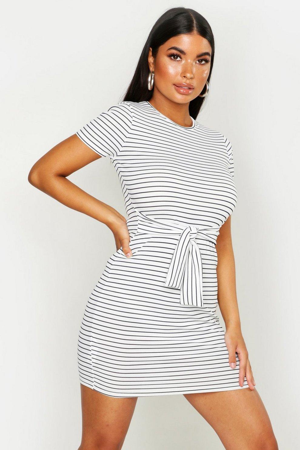 7c402502d914d Petite Striped Knot Front T-Shirt Dress | Boohoo