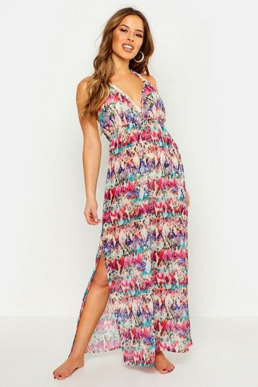 Womens Multi Petite Rainbow Snake Maxi Beach Dress