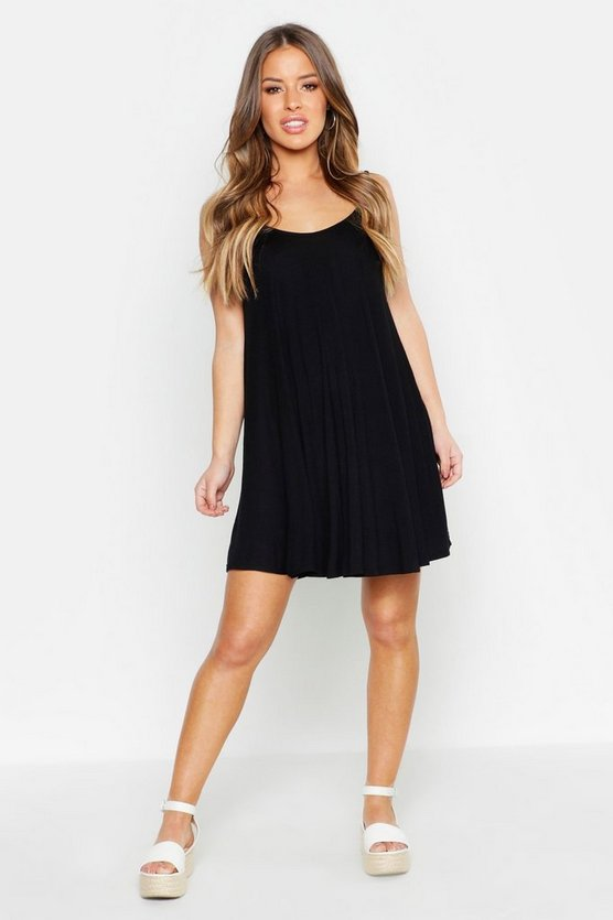 Womens Black Petite Basic Swing Dress