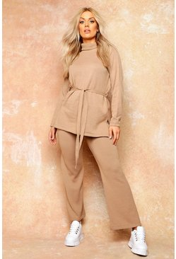 Womens Tan Plus Knit High Neck Jumper & Wide Trouser Co-Ord