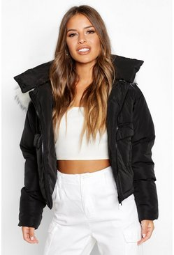 Black Petite Pocket Faux Fur Trim Padded Jacket