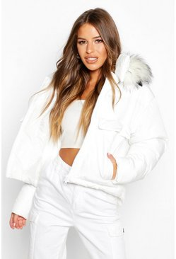 White Petite Pocket Faux Fur Trim Padded Jacket
