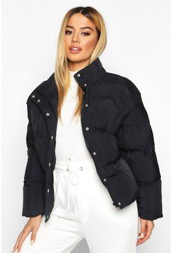 Dam Black Petite Cropped Hooded Padded Jacket