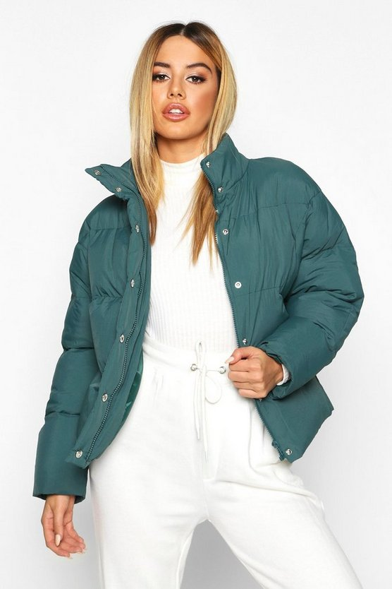Green Petite Cropped Hooded Padded Jacket