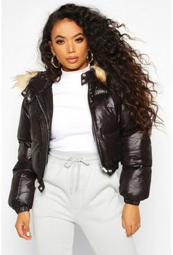 Dam Black Petite Cropped Padded Jacket
