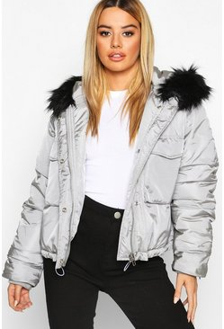 Grey Petite Oversized Cropped Pocket Padded Jacket