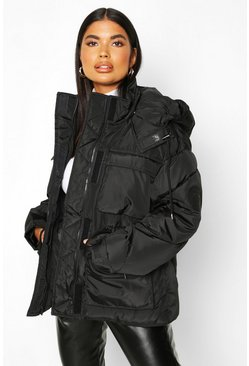 Dam Black Petite Double Pocket Drawstring Padded jacket