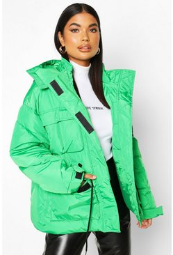 Green Petite Double Pocket Drawstring Padded jacket