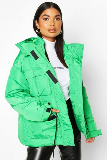 Womens Green Petite Double Pocket Drawstring Padded jacket