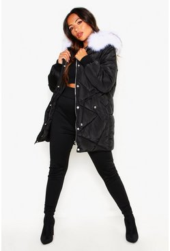 Womens Black Petite Faux Fur Hood Drawstring Padded Coat