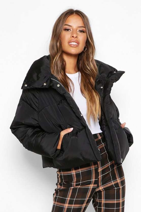 Black Petite Cropped Front Pocket Padded Jacket
