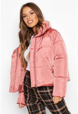 Rose dust Petite Cropped Front Pocket Padded Jacket