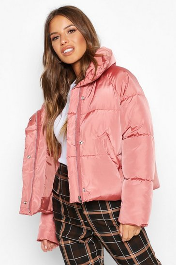 Womens Rose dust Petite Cropped Front Pocket Padded Jacket