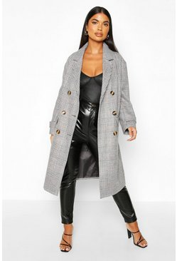 Grey Petite Prince of Wales Check Wool Look Coat