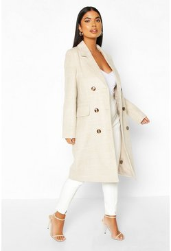 Stone Petite Soft Herringbone Wool Look Coat