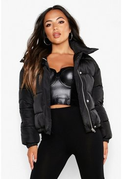 Dam Black Petite Pocket Detail Padded Jacket