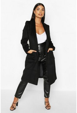 Black Petite Wrap Pocket Wool Look Coat