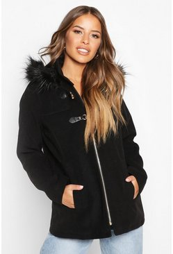 Dam Black Petite Faux Fur Trim Wool Look Duffle Coat