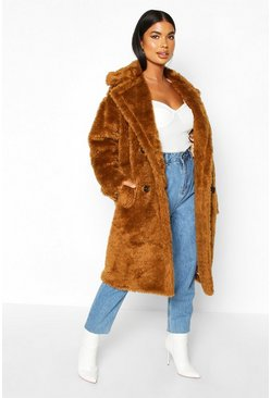 Tobacco Petite Longline Double Breasted Faux Teddy Coat