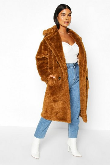 Womens Tobacco Petite Longline Double Breasted Faux Teddy Coat