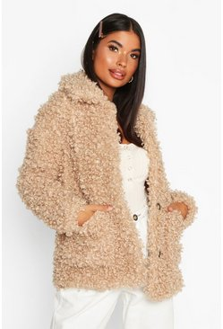Petite Caban-Mantel aus Teddy-Fake-Fur, Karamell, Damen
