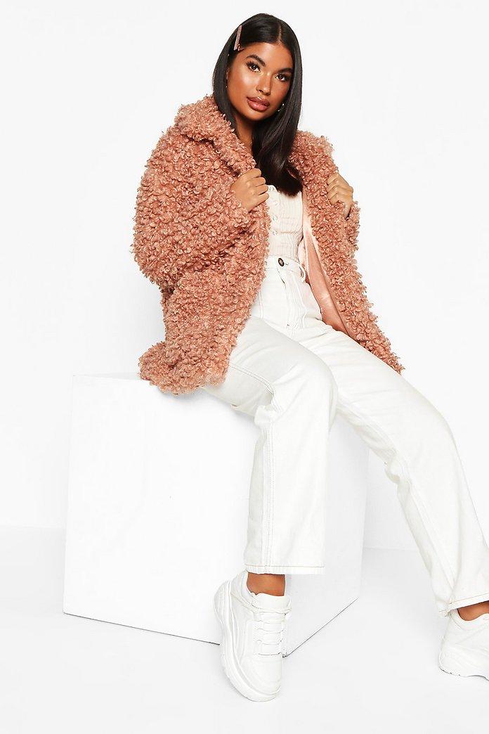 Petite Caban Mantel aus Teddy Fake Fur | Boohoo