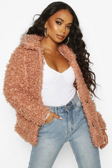 Womens Rose Petite Faux Teddy Fur Pea Coat
