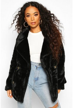 Black Petite Double Breasted Faux Fur Jacket