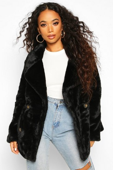 Petite Double Breasted Faux Fur Jacket