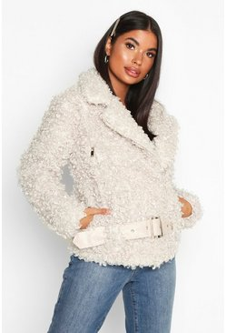 Womens Cream Petite Faux Fur Teddy Aviator Jacket